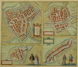 Sneek, Dokkum, Sloten, IJlst; G. Braun & F. Hogenberg – Sneecha (..) / Doccum / Sloten / Ylsta – 1588-1617