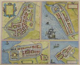 Bolsward, Harlingen, Stavoren, Hindelopen; G. Braun & F. Hogenberg – Bolzvardia (..) / Stavria (..) / Harlinga / Hindelopia – 1588-1617