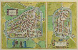 Leeuwarden, Franeker; G. Braun & F. Hogenberg – Lewardum (..), Franicher (..) – 1572-1617